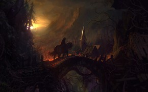 Picture forest, the sun, bridge, horse, hut, rider, Castlevania: Lords Of Shadow