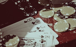 Picture card, chips, poker