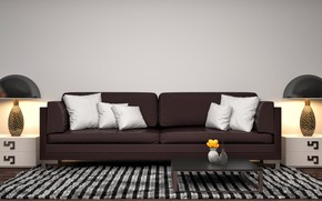 Picture design, lamp, sofa, pillow, modern