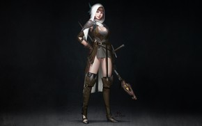 Picture Girl, Fantasy, Art, Style, Illustration, Sword, Wizard, Figure, Character, Staff, InHyuk Lee