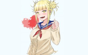 Picture girl, blue background, My hero Academy, My Hero Academia, Boku No Hero Academy, Toga Himiko, …