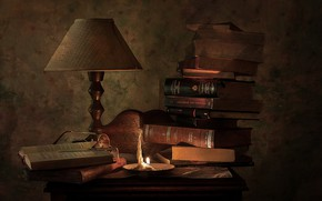 Wallpaper lamp, books, still life