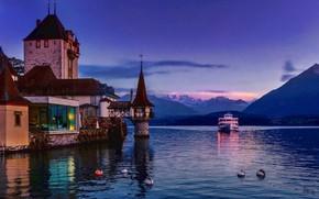 Picture sunset, mountains, lake, castle, Switzerland, Alps, Switzerland, ship, Alps, Lake Thun, Oberhofen Castle, Lake Thun, …
