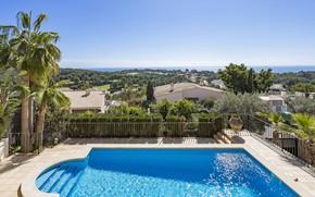 Picture sea, the city, palm trees, Villa, home, pool, Spain, Mallorca, Mallorca, Villa Bendinat