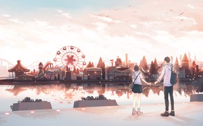 Picture girl, guy, amusement Park, by pinattsu