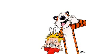Picture tiger, emotions, child, boy, comic, smiley, emotion, Calvin and Hobbes, the grimace, calvin, Calvin and …
