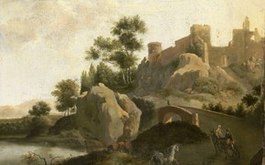 Picture oil, picture, canvas, Italian landscape, 1720, Schieblius J. G.