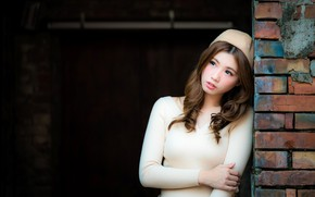 Picture pose, background, model, portrait, brick, makeup, dress, hairstyle, brown hair, Asian, is, in white, takes, ...