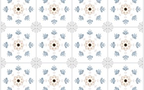 Picture flowers, pattern, texture, squares, white background