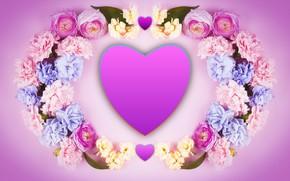 Picture flowers, heart, Valentine's Day, Valentine's Day