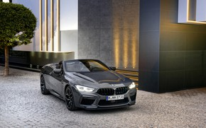 Picture BMW, convertible, 2019, BMW M8, M8, F91, M8 Competition Convertible, M8 Convertible, near the building