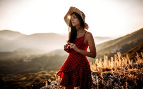 Picture look, girl, the sun, nature, pose, hat, dress, brunette, beautiful, bokeh, Let Behnke