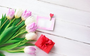 Picture love, flowers, gift, heart, bouquet, tulips, love, pink, heart, pink, flowers, beautiful, romantic, tulips, valentine's …