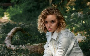 Picture summer, look, girl, nature, jacket, blonde, curls, dzhinsovka, Artem Semakin