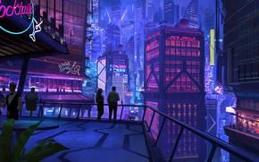 Picture City, Art, Lights, Party, Balcony, Neon, Ciberpunk, Cocktail bar