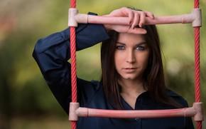Picture look, girl, model, hair, ladder, Mila Volkova