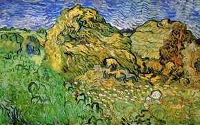 Picture Vincent van Gogh, Field with, Wheat Stacks