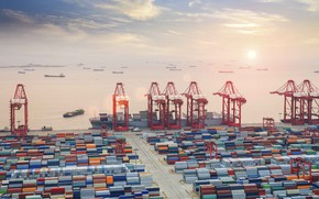 Picture The ocean, Sea, Port, Court, The ship, Cranes, RAID, Container terminal, Cargo operations