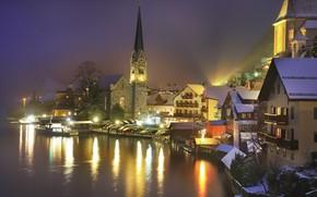 Picture night, lake, photo, Austria, Hallstatt