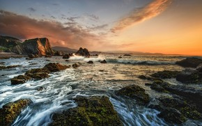 Picture sea, the sky, sunset, stones, Spain, Playa de bozo