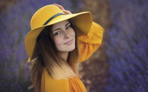 Picture look, girl, smile, model, hat, freckles, Tanya Markova