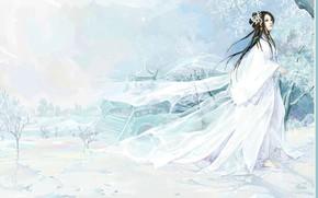 Picture frost, snow, ladder, priestess, gazebo, winter landscape, barefoot, transparent fabric, white clothes, Yuki-Onna