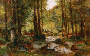 Picture trees, Forest, Stream, Picture, Alois Arnegger, Alois Arnegger, Лес осенью, Австрийский живописец