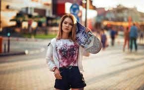 Picture look, girl, pose, shorts, t-shirt, skateboard, Artem Castle