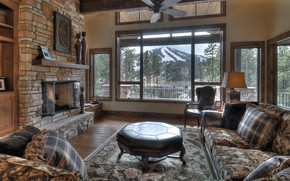 Picture room, interior, Chalet Moon, living room, fireplace
