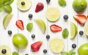 Picture berries, blueberries, strawberry, lime, citrus, fruit, slices