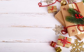 Picture New Year, Christmas, gifts, Christmas, wood, New Year, decoration, gifts, Merry, fir tree, fir-tree branches