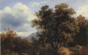 Picture clouds, trees, children, BRACASSAT
