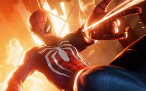 Picture fiction, fire, web, sparks, costume, superhero, marvel, comic, Spider-man, Spider-Man, PS4