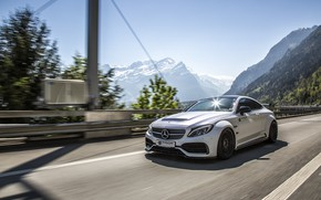 Picture mountains, Mercedes-Benz, speed, AMG, Coupe, G63, Widebody, Prior-Design, C-Class, 2017, C205, PD65CC