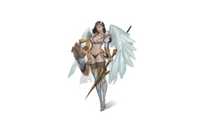 Picture Girl, Fantasy, Art, Style, Fiction, Illustration, Minimalism, Shield, Wings, Valkyrie, Spear, Character, NamGyeong Lee