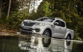 Picture water, shore, vegetation, Renault, pickup, 4x4, 2017, Alaskan, gray-silver