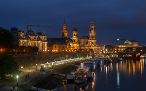 Picture road, night, bridge, lights, river, home, Germany, Dresden, lights, promenade, piers, court, palaces