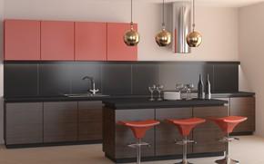 Picture design, furniture, interior, kitchen, modern