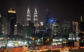 Picture night, the city, beauty, Malaysia, Kuala Lumpur