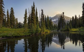 Picture landscape, mountains, nature, lake, beauty, ate, tree, Christmas trees