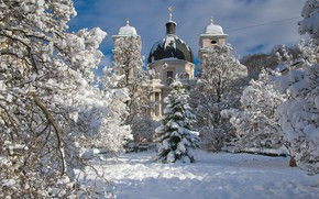 Picture winter, snow, trees, nature, the city, Austria, Church, Cathedral, Salzburg