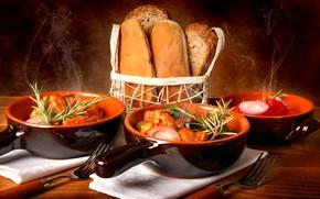 Picture bread, sour cream, the second dish, borsch