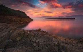 Picture forest, clouds, sunset, mountains, stones, shore, pond, sunset sky