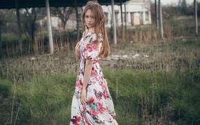 Picture hair, Girl, dress, shoulders