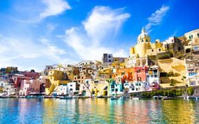 Picture sea, home, Italy, Procida, Procida