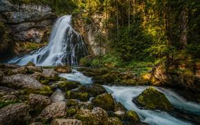 Picture forest, stones, rocks, waterfall, Austria, Austria, Salzburg, Salzburg, Gollinger Waterfall, Black Brook Creek, Gollinger Waterfall, …