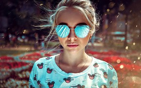Picture the sun, model, portrait, makeup, glasses, hairstyle, blonde, bokeh, Kirill Bukrey