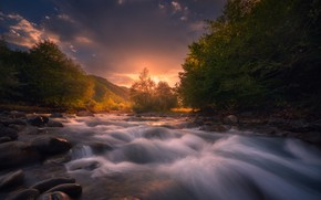 Picture summer, water, trees, river, stones, dawn, hills, for
