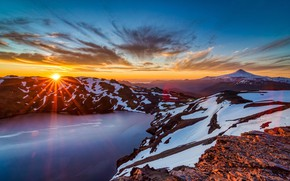 Picture the sky, the sun, rays, snow, sunset, mountains, nature, lake, nature, sunset, mountains, Lake