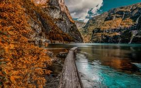 Picture autumn, mountains, lake, pier, the bridge